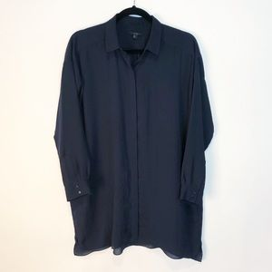 COS Navy Oversized Button Up Blouse